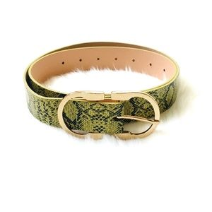 Accessories - Lime Snake Print Belt